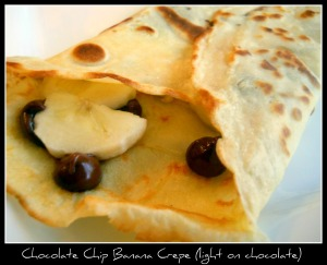 Chocolate chip banana crepe