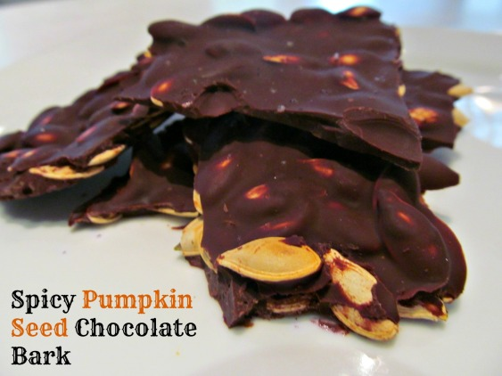 Spicy Pumpkin Seed Chocolate Bark