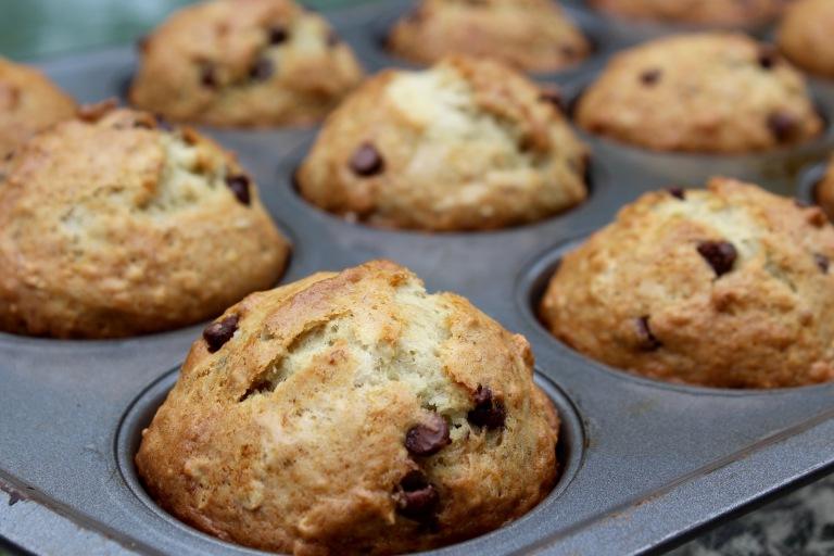 Eggless Banana Chocolate Chip Muffins